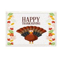 Carpet Kitchen Mats For Floor Mat Thanksgiving Decor, Cartoon Turkey with Autumn Leaves Bath Rugs, Non Slip Doormat