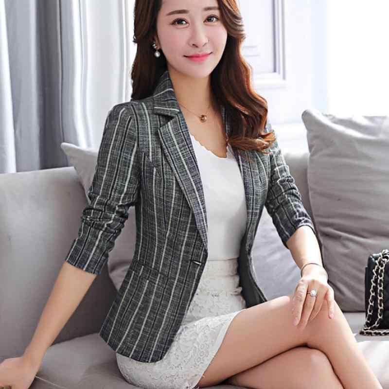 YAUAMDB נשים טרייל 2018 אביב S-3XL כותנה נשי חליפת מעילי בגדי פסים יחיד כפתור משרד גבירותיי בגדי Y87