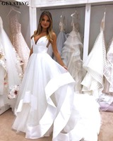 Sexy Spaghetti Straps Open Back Wedding Dress 2019 White Satin Ruffles Puffy Tulle A line Beach Bridal Gowns Cheap Made in China