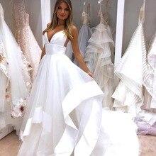 Sexy Spaghetti Straps Open Back Wedding Dress 2019 White Sat