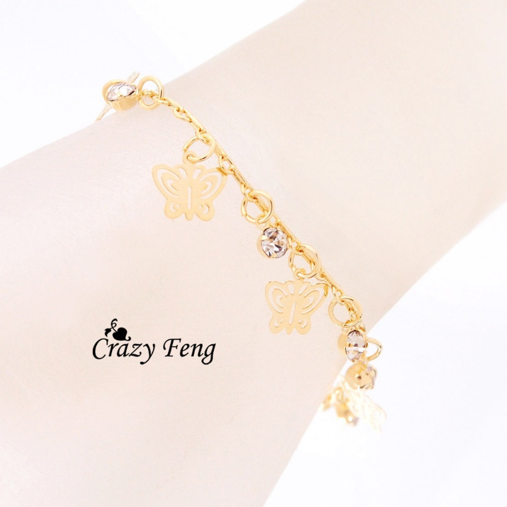 Neue Mode Design gold farbe Schmetterling Form armbänder für frauen hand Kette Schmuck Geschenk Tropfen verschiffen - 3