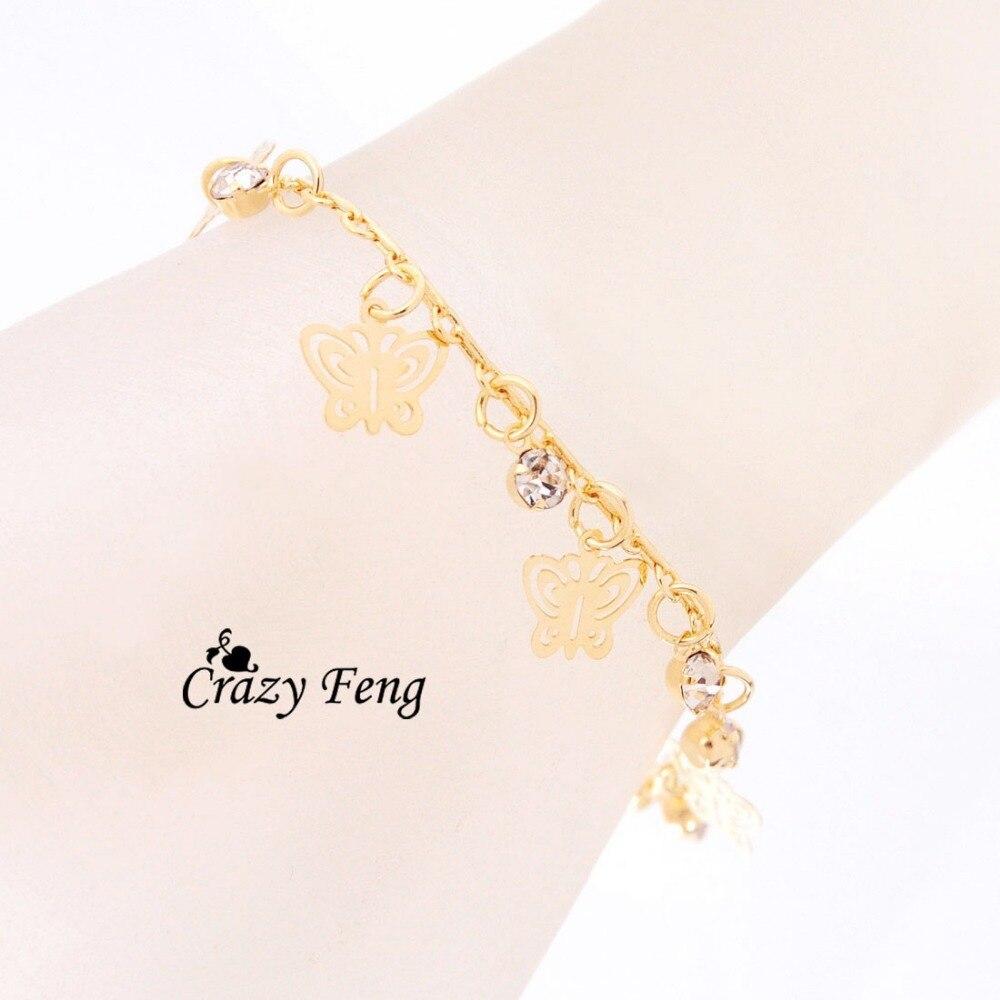 Nouveau Design de mode or-couleur papillon forme bracelets pour femme main chaîne bijoux cadeau livraison directe - 3