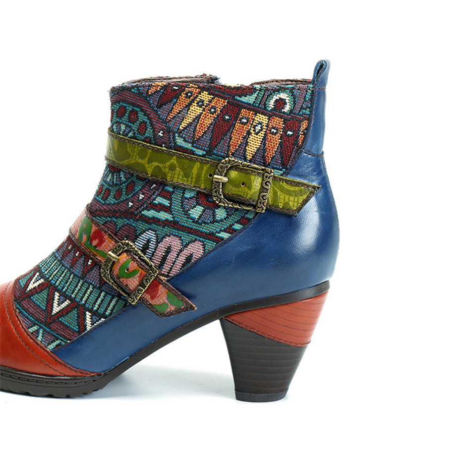 D Knight Brand Plus Size Women Ankle Boots Vintage Patchwork Female Short Boots Fashion Side Zip Print Buckle Lady Shoes Booties (5)
