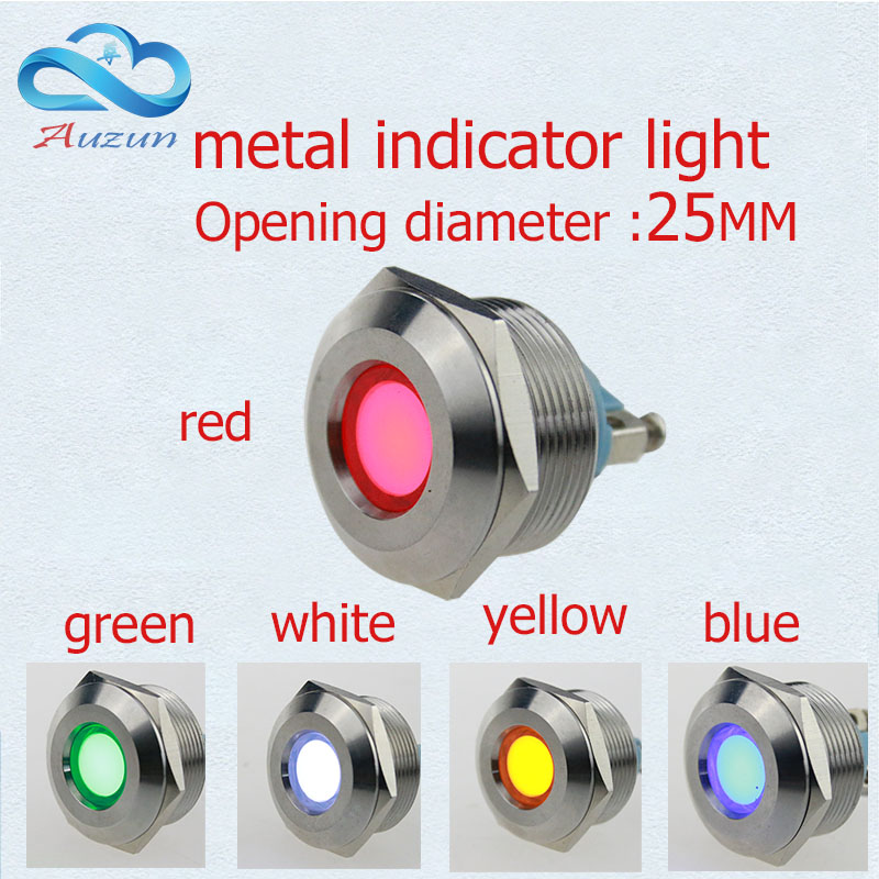 10 PCS LEDメタルインジケーターライト25mmメタルライト警告車ライト3v 6v 12v 24v 36v 220v赤緑黄青と白