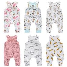 Комбинезон для маленьких девочек; хлопковый комбинезон для маленьких мальчиков; летняя одежда для младенцев с героями мультфильмов; пляжный костюм без рукавов; Одежда для новорожденных; унисекс