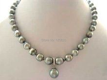 lady's gift jewelry RARE High TAHITIAN PEARL NECKLACE WITH PENDANT 18inch Silver hook wholesale shipping Free