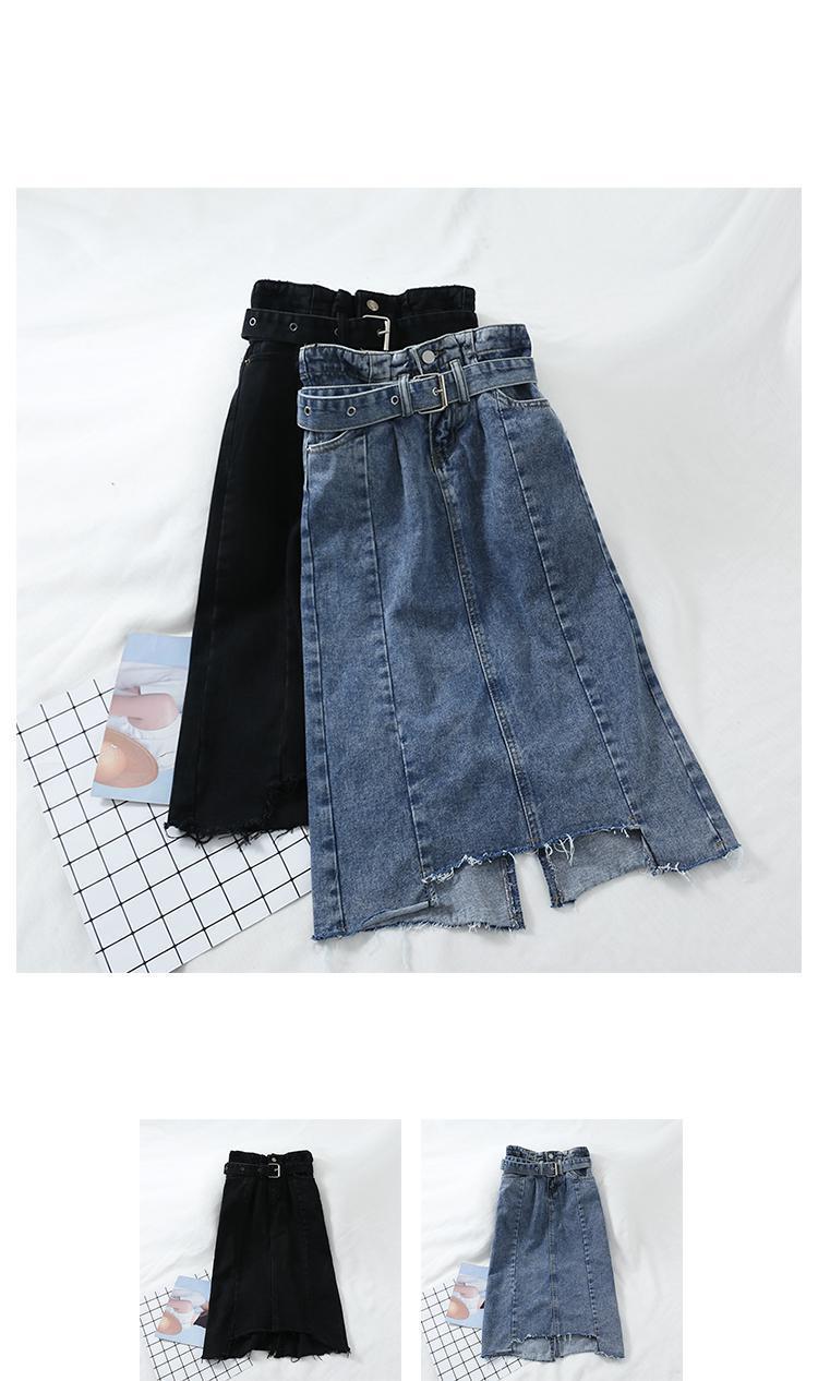 cc3738126 2019 Summer Sexy Sashes Bandage Midi Denim Skirt Women High Waist ...