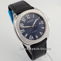 40mm Blue Dial Leather Band Miyota 821A Automatic Mens Wrist Watch 2611