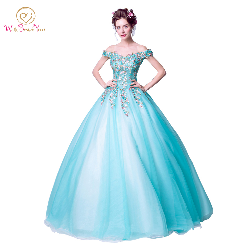 Turquoise Blue Evening Dresses Embroidery Flower Pearl Ball Gown Off The Shoulder Formal Dresses Long Party Gown Real Photo 2019