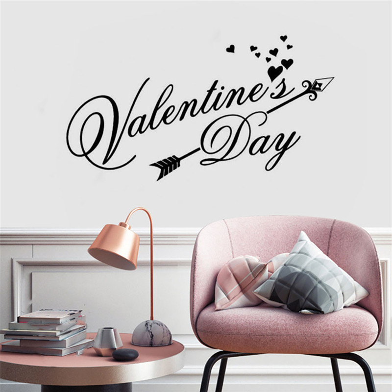 Wall stickers bedroom home decor Removable Vinyl Decal Art Mural Valentine's Home Living Room Decor Wall Stickers wallpaper 2019-in Wall Stickers from Home & Garden