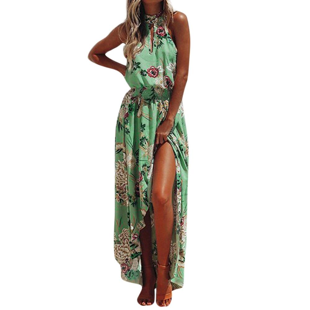 CHAMSGEND mujer dress2018 moda mujer Boho Floral Maxi largo del vestido de noche sin mangas partido verano playa Sundress June28