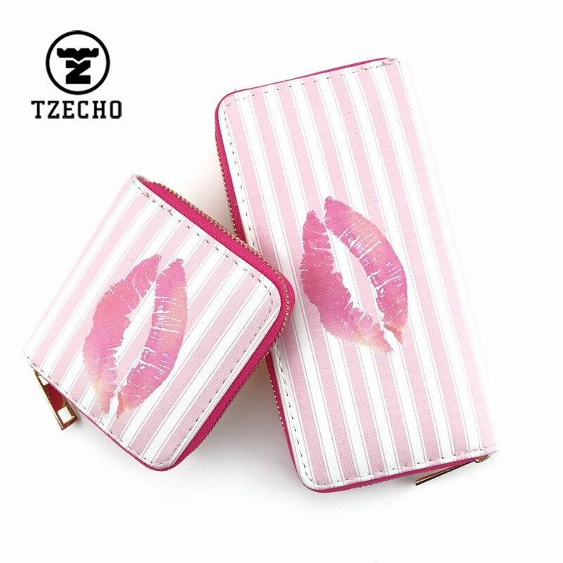 TZECHO Zipper Around Womens Wallets PU Print Cartoon Girls Suite Sexy Money Purses Mini Coin Pocket Small Card Holder Clutch Bag