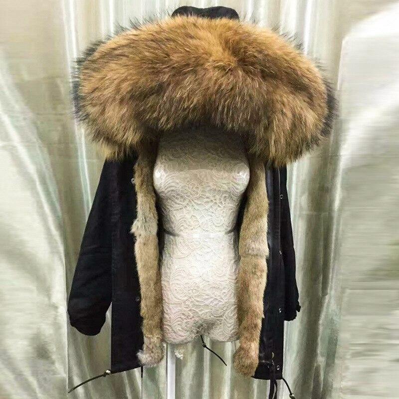 2019 fashion woman army green large raccoon fur collar hooded coat parkas outwear detachable rabbit fur lining winter jacket