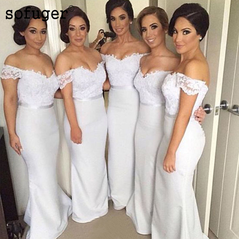 White Elegant Sweetheart Satin Off The Shoulder Lace Special Occasion Bridesmaid Dresses Formal Vestidos Wedding Party