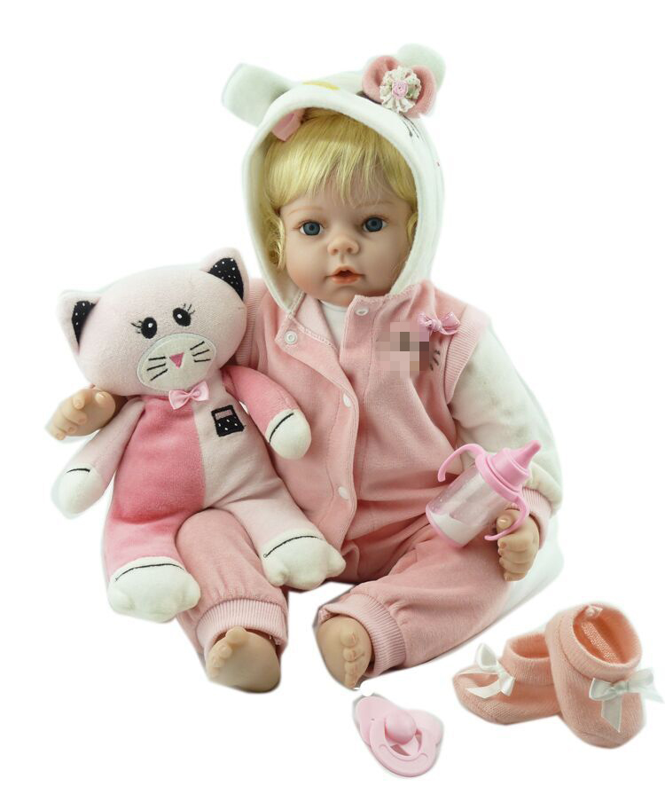 wholesale reborn baby doll vinyl silicone soft real touch with blonde wig hair doll best gift