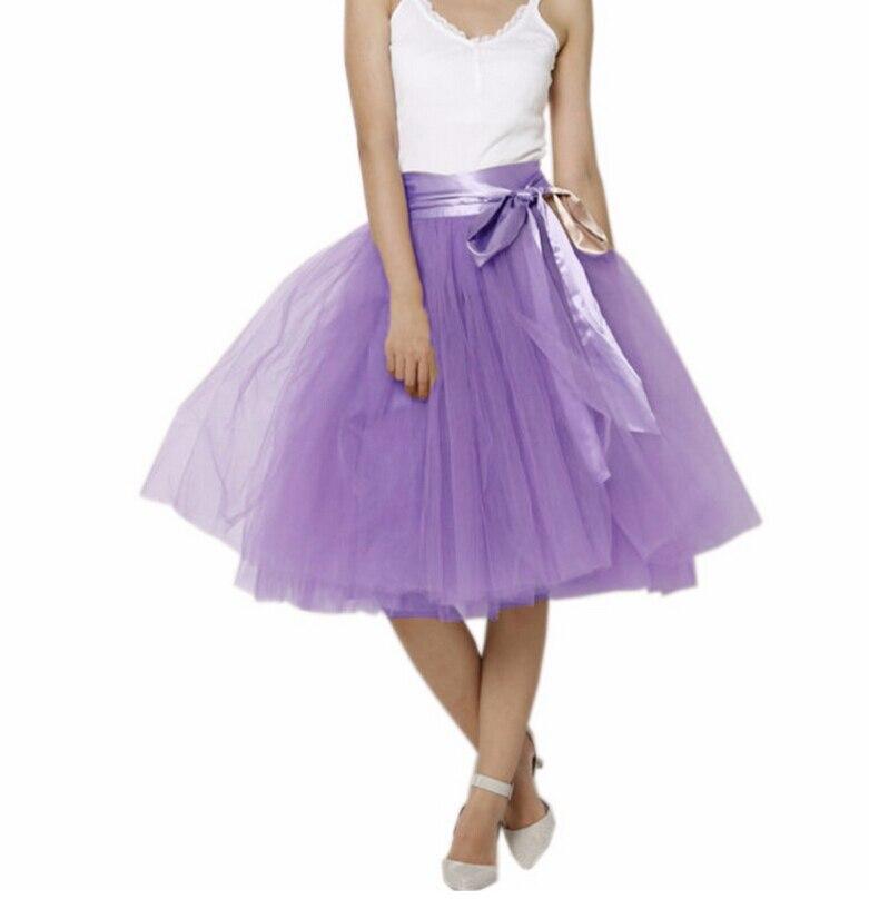 Nueva Moda Rodilla Verano Color Mujeres Falda Las Tulle Faldas Llegada Para Caqui Estilo Longitud Púrpura Puffy Ahora Cinta De OqOrT6