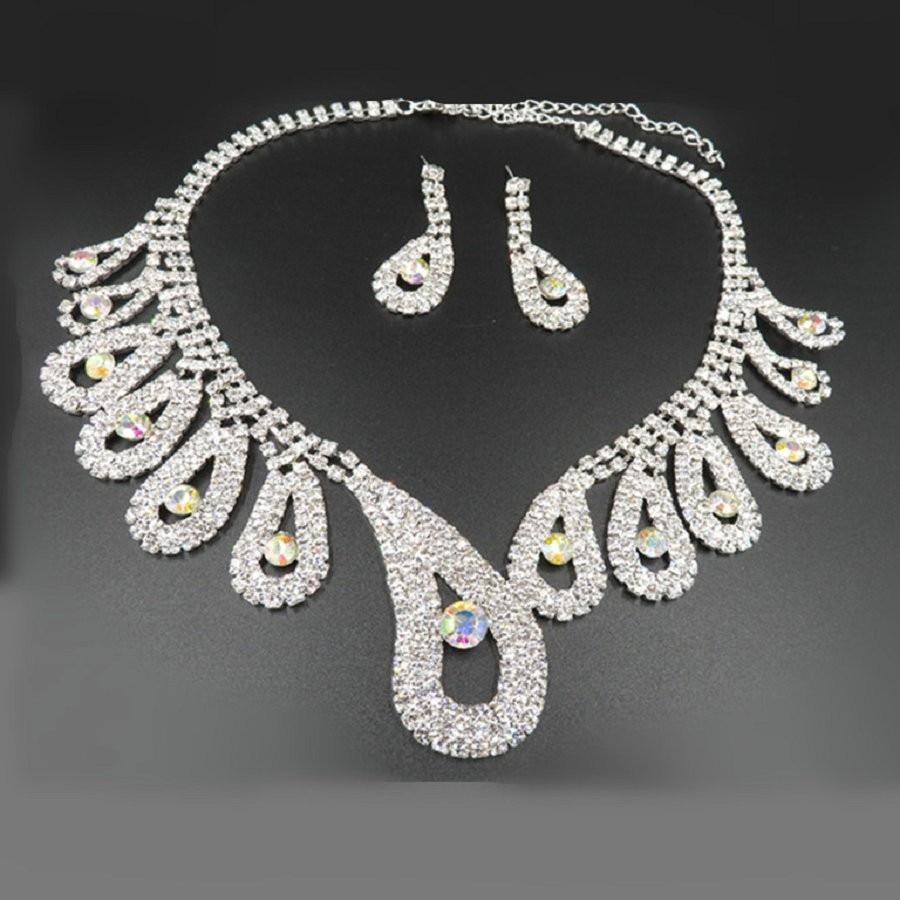 (7) - Bijoux De Mariage Luxueux, Goutte Boucle D'oreille Collier Ensemble Autriche Cristal,