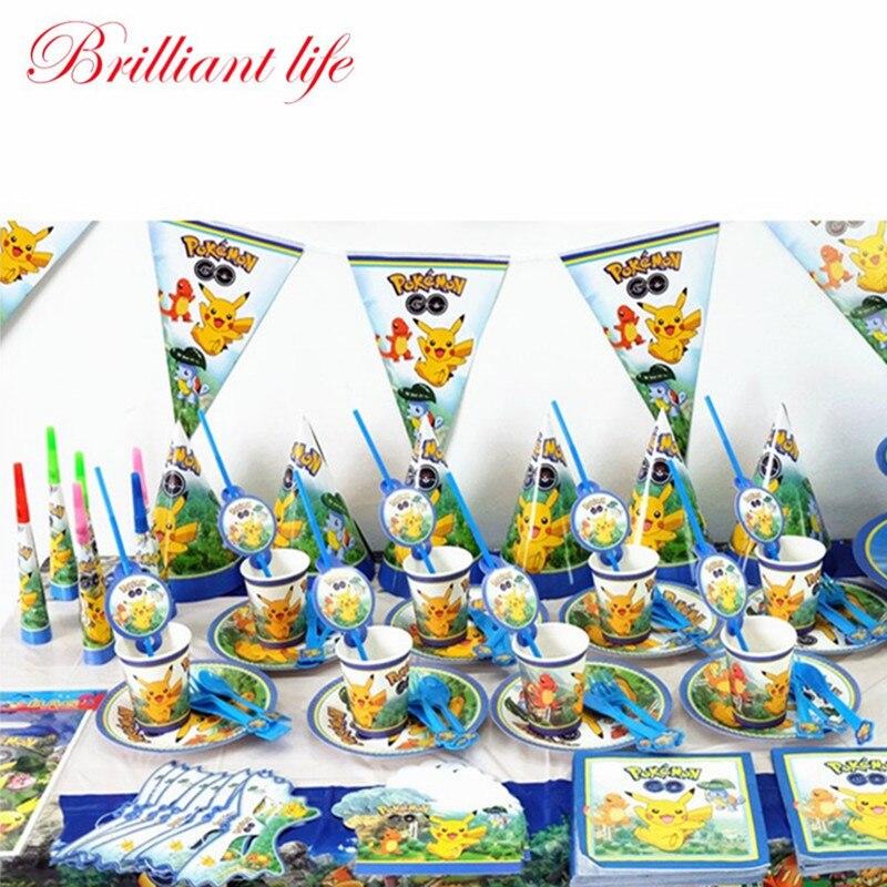 Pokemon Go Theme 252pcs lot Child Boy Birthday Party Pikachu Paper Cup Plate Napkin Candy Box