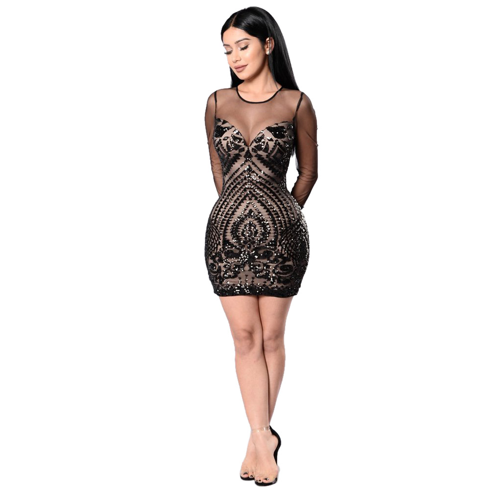 OKAYOASIS Gold Sequin Dress Black Long Sleeve Mesh Club Party Bodycon Mini Dresses Autumn Glitter Dress