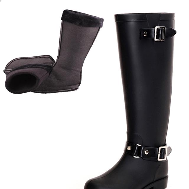 2016 H botas de chuva de borracha senhoras bots de Volta Zip vermelho Botas de Equitação bota galochas com meias Quentes stivali gomma pioggia militar