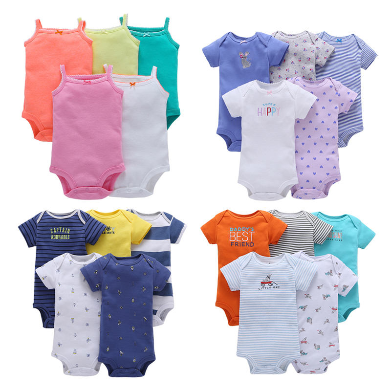 5pieces/Lot Summer Baby Girl Clothes Bebes Baby   Rompers   Unisex Short Sleeve Cotton Toddler   Romper   Infant Jumpsuit Overalls Child