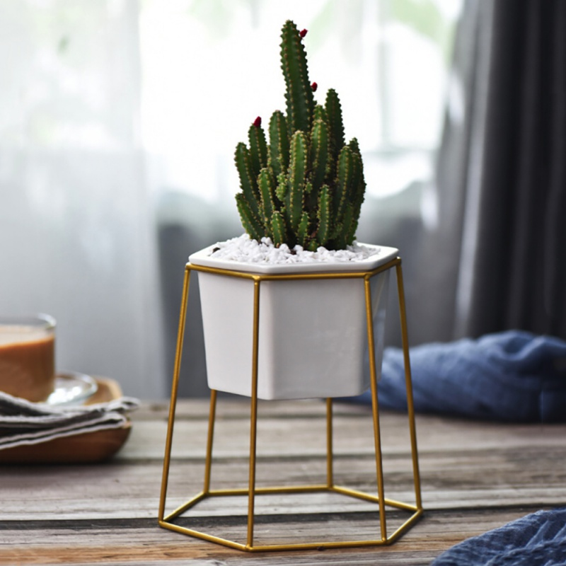 New Desktop Decoration Geometric Gold Iron Rack Holder White Small Ceramic Planter Ceramic Succulents Herb Pot Plant Flower Pot
