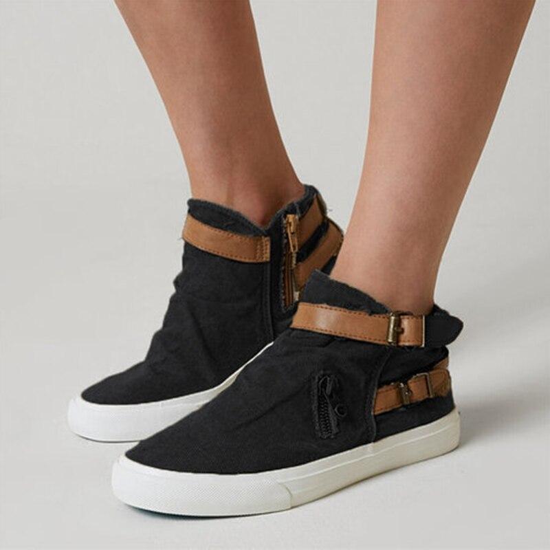 HEFLASHOR 2019 ผู้หญิง Vulcanize รองเท้ากลางแจ้งรองเท้าสุภาพสตรีแบนรองเท้าแฟชั่น Retro รองเท้าผ้าใบขนาด Plus