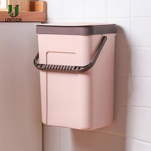Image 2 - UNTIOR Wall mounted Trash Can Household Kitchen Plastic Portable Storage Bucket Waste Bin Creative Bathroom with Lid Trash Bin