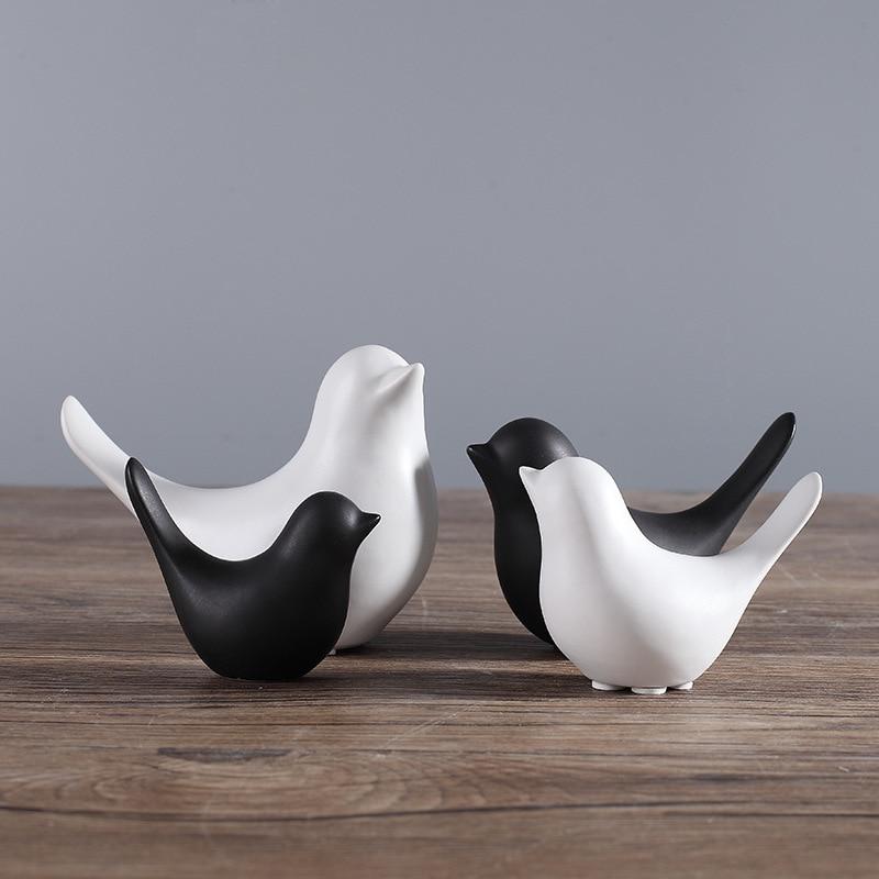 Minimalist ceramic bird home decor crafts statue living for Bird decorations for home
