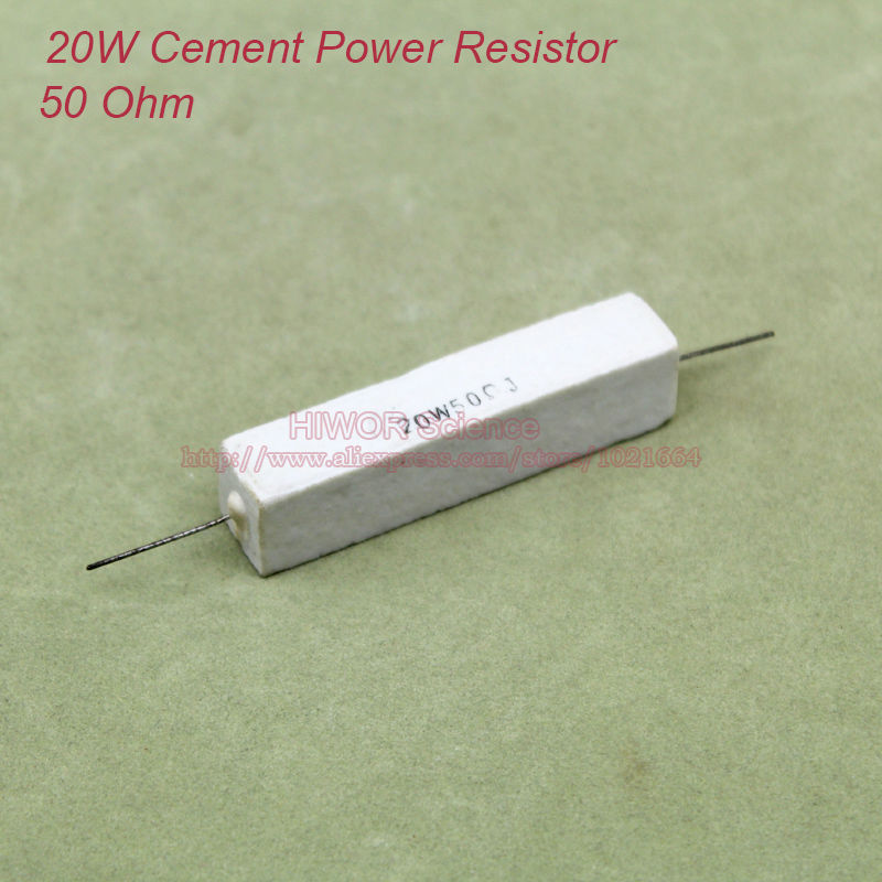 product (10pcs/lot) 20W Cement Power Resistors 20W 50 ohm Ceramic Cement Power Resistor 50ohm TOL 5%