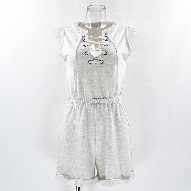 Gray Sleeveless Cotton Jumpsuit 1