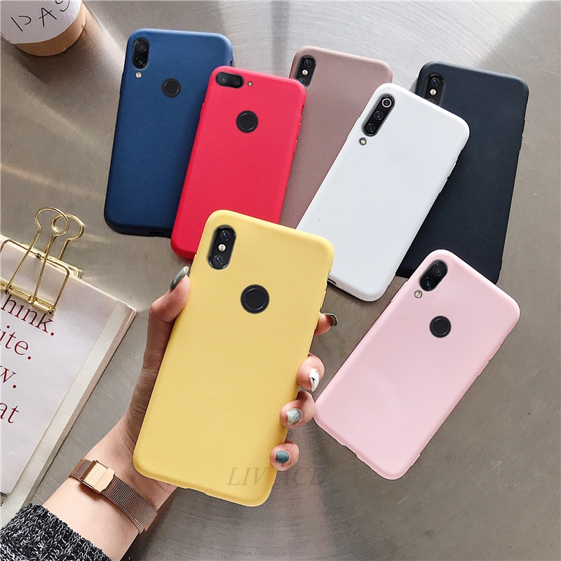 matte candy color <font><b>silicone</b></font> <font><b>case</b></font> on for xiaomi redmi note 6 pro 7 5 pro <font><b>mi</b></font> <font><b>8</b></font> 9 se a2 <font><b>lite</b></font> mix 2s cute solid <font><b>xiomi</b></font> tpu back cover image