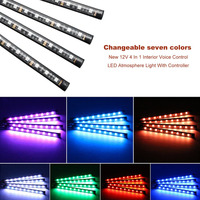 New 12V 4 In 1 Interior Voice Control LED Atmosphere Light Lamp 8 Color RGB Car