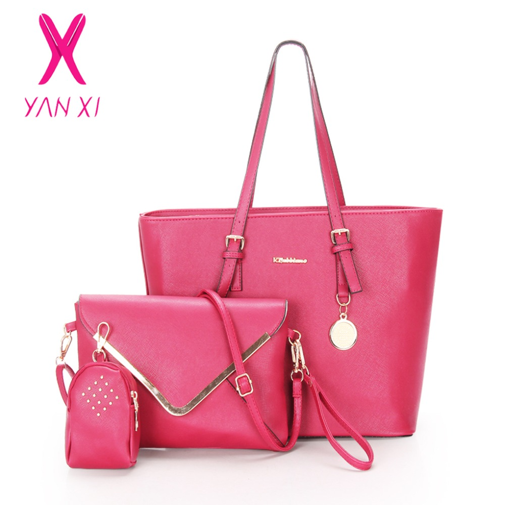 Фото YANXI New Factory Outlet Woman Handbag PU Leather Shoulder Bags Lady Handbag Messenger Bag Purse Bag 3 Sets High Quality Tote