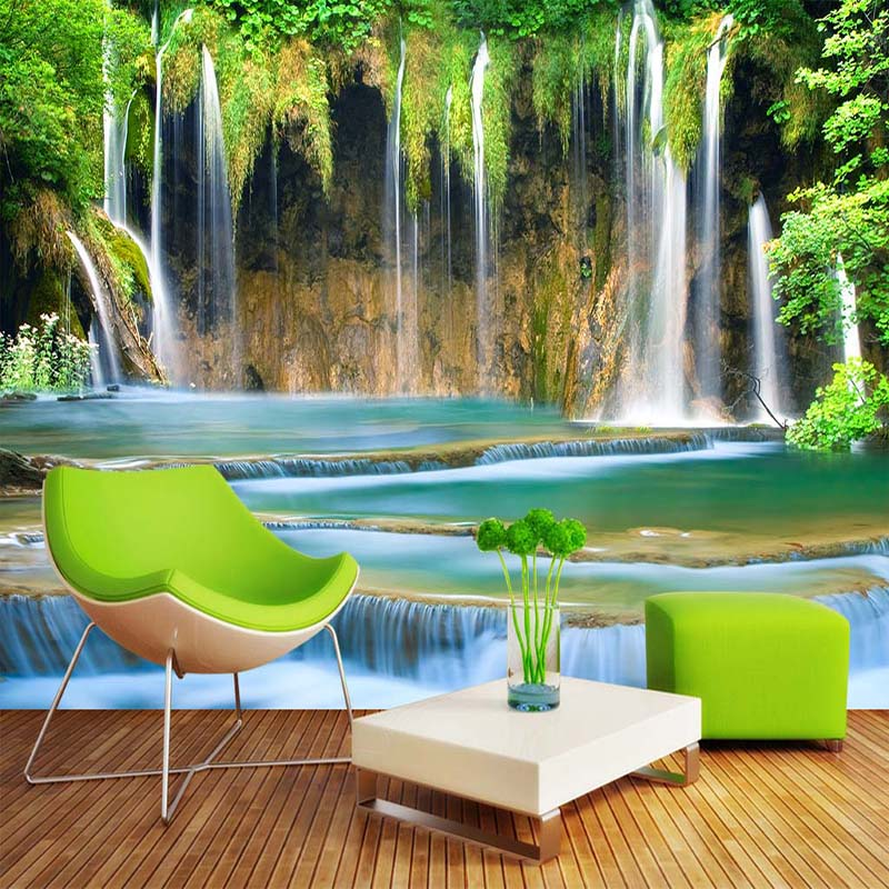 Custom Wall Mural Wallpaper 3D Waterfall Landscape Background Photo Wall Paper Wall Painting Living Room Bedroom Wall Home Decor custom 3d photo wallpaper waterfall landscape mural wall painting papel de parede living room desktop wallpaper walls 3d modern