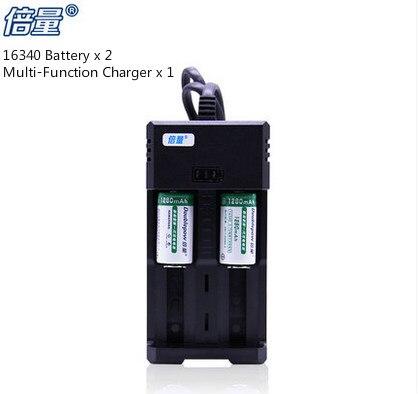2PCS 16340 Lithium <font><b>Battery</b></font> 3.6V Rechargeable <font><b>CR123A</b></font> <font><b>batteries</b></font> + 1PCS 3.7V 18650/26650/18500/17500 <font><b>Battery</b></font> <font><b>Charger</b></font>