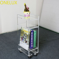 Acrylic Lucite Rolling Magazine Telephone Table On Wheels
