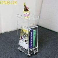 Acryl lucite roll magazin/telefon tisch auf rädern