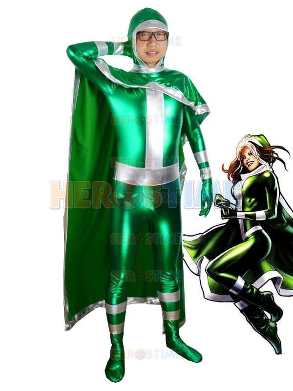 New X-men Rogue Superhero Costume Green Shiny Metallic Halloween Cospaly For Men Fullbody Show Zentai Suit Free Shipping