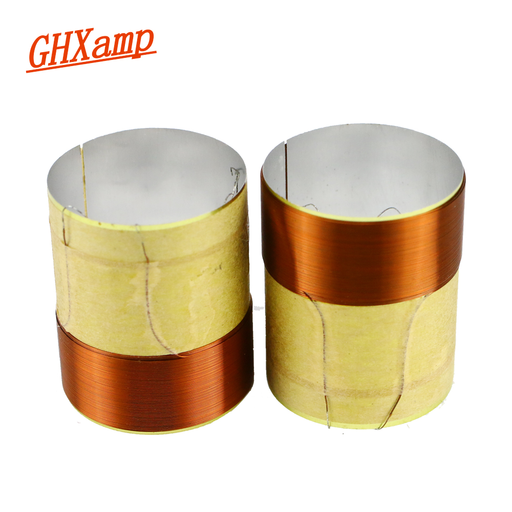 GHXAMP 25.5mm Bass Voice Coil 8ohm Woofer Speakers Repair Parts 25 Core White Aluminum 2 Layer Round Copper Wire 2PCS