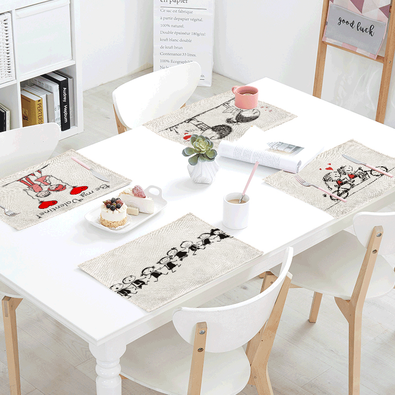 Graffiti Simple Tablecloth Bike Couple Sun Flower Napkin Towel Tea Coffee Table Kitchen Wedding Decoration Western Pad 42x32cm