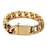Cuban Men S Popular Bracelet 15mm Wide Bangles Gold Big Thick Stainless Steel Bracelet Give Friends