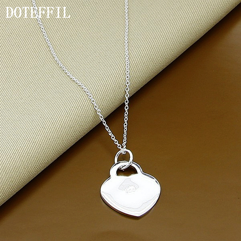 Name Brand Bracelets: Heart Card Necklace Heart Tag Brand Name Jewelry Silver