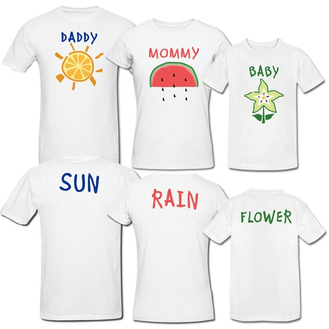 Custom Family Tee Shirts Funny Design Daddy Mommy Baby 2 Side Printed Short Sleeve Top Tees Leave Size