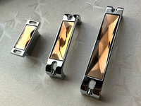 1 25 3 75 5 6 3 Glass Dresser Drawer Handles Chrome Amber Silver Crystal Cupboard