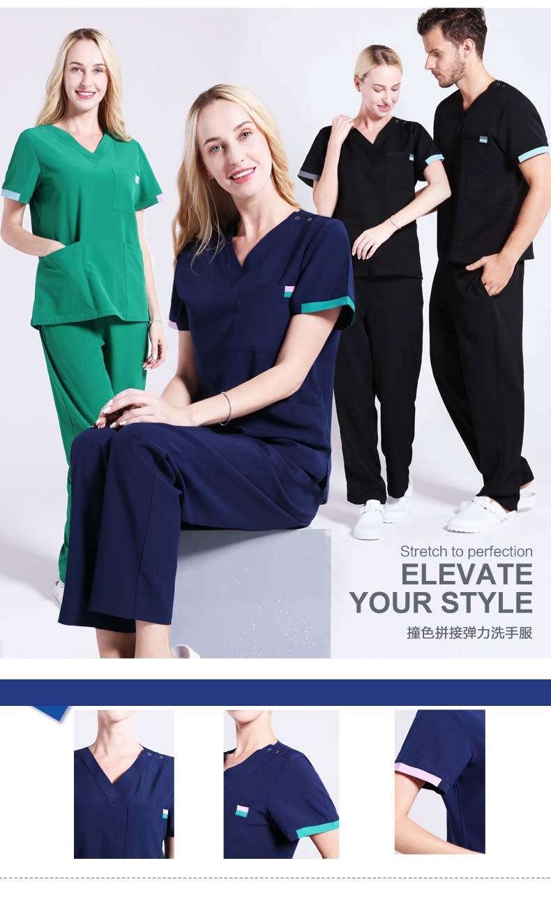 87a2b454955 Contrast Details Unisex Surgeon Uniform Medical Scrub Work Wear Nursing  Suit Modern Classic V-neck Short Sleeve Dentist Workwear. Size 6 1 2 3 4 ...
