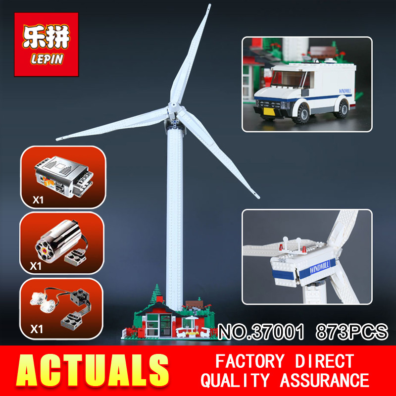 Lepin 37001 873Pcs Genuine Street Series Vestas Wind Turbine Children Building Blocks Bricks Toys Model Gifts 4999 lepin 37001 creative series the vestas windmill turbine set children educational building blocks bricks toys model for gift 4999
