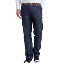 Lesmart Men's Brief Solid Pure Cotton Business Casual Fashion Straight Jeans Flat Loose Long Trousers  Easy-care Denim Pants