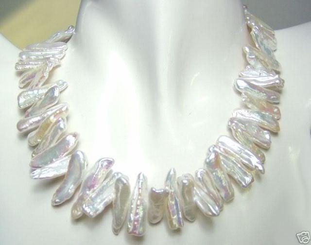 """Encanto de plata accesorio brilló> 6-13mm forma anormal blanco perla collar de 17"""""""