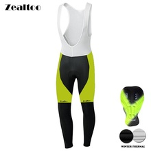 Zealtoo 2018 Winter Thermal Fleece Cycling Long Bicycle Bib Pants Gel Pad Bike Bib Tights Mtb Men Ropa Ciclismo Cycling Culote недорого
